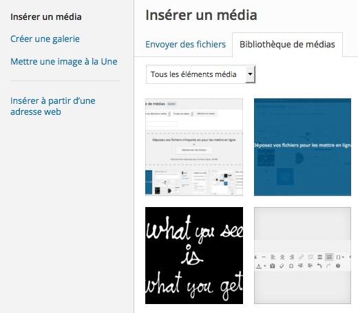 Popup Insérer un média WordPress