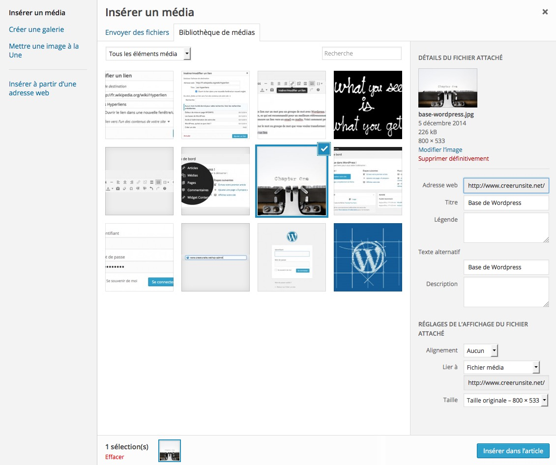 Ajouter un média dans WordPress