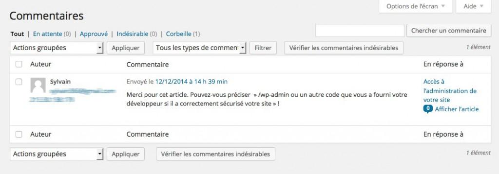 Gestion des commentaires WordPress