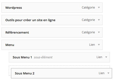 Organiser un menu WordPress