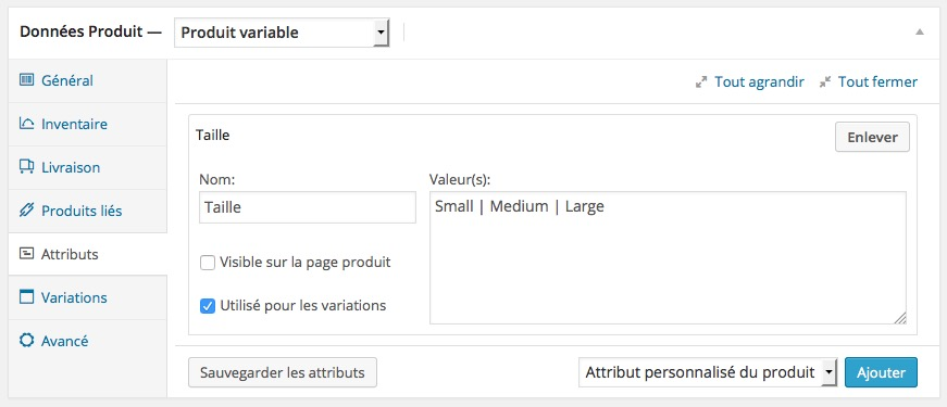 Attributs produits variations WordPress Woocommerce