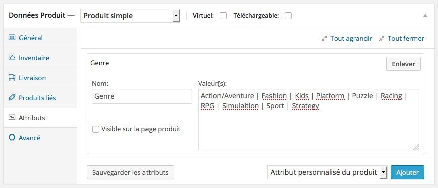 Attributs produits WordPress Woocommerce