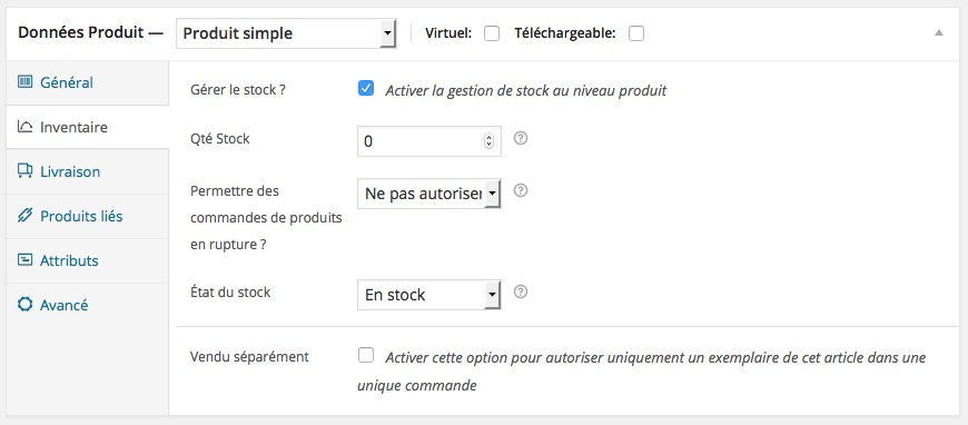 Inventaire produits simples WordPress Woocommerce