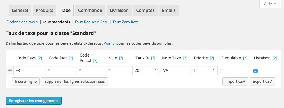 TVA Taux Standard WordPress Woocommerce