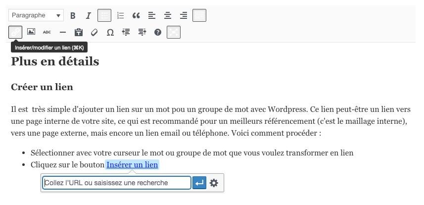 Wordpress Ajouter un lien dans Classique